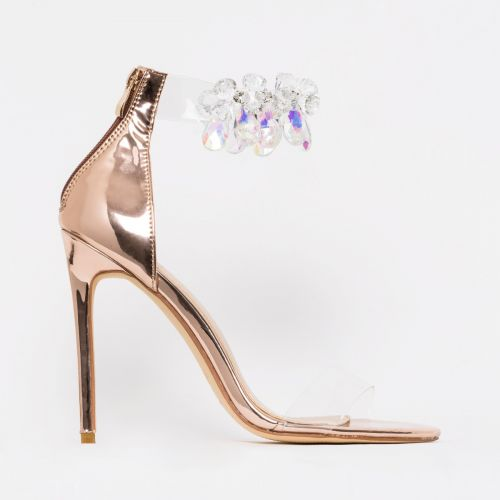 Marianna Rose Gold Gem Clear Stiletto Heels