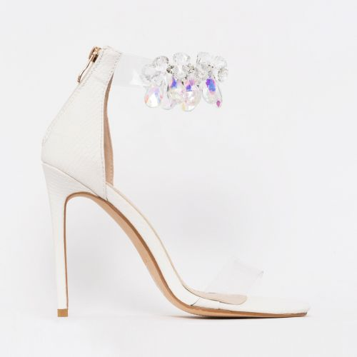 Marianna White Snake Print Gem Clear Stiletto Heels