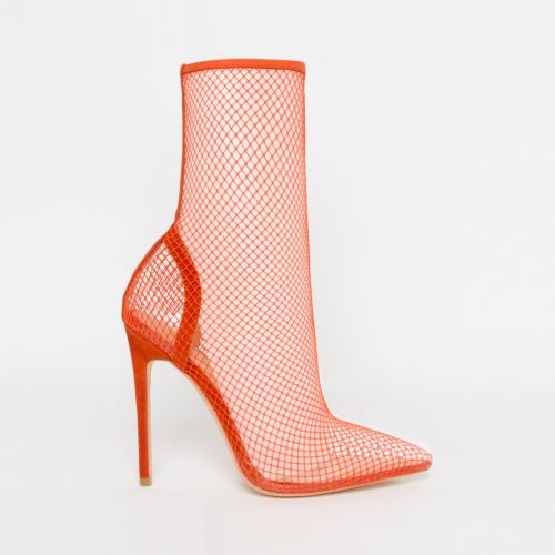 Kalia Orange Clear Fishnet Heels