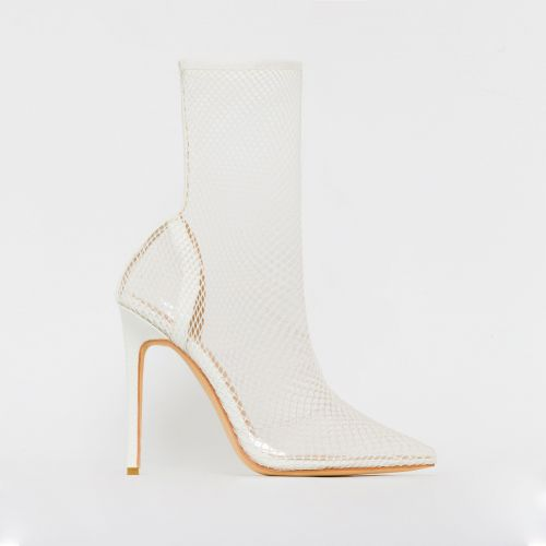 Kalia White Snake Print Mesh Clear Fishnet Heels
