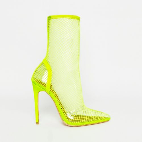 Kalia Neon Yellow Clear Fishnet Heels