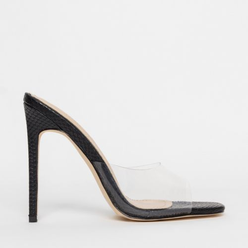 Solana Clear Black Snake Stiletto Mules