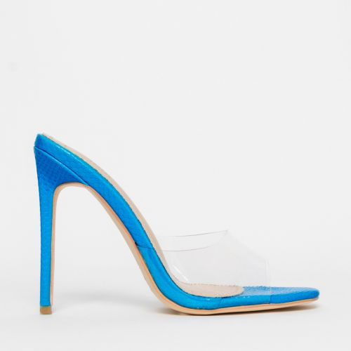 Solana Clear Blue Snake Stiletto Mules
