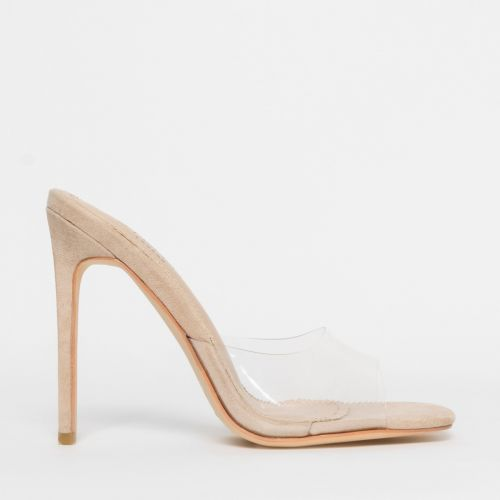 Solana Clear Nude Suede Stiletto Mules