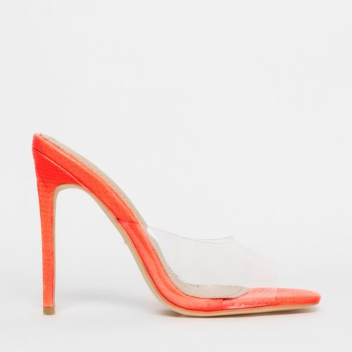 Solana Clear Coral Snake Stiletto Mules
