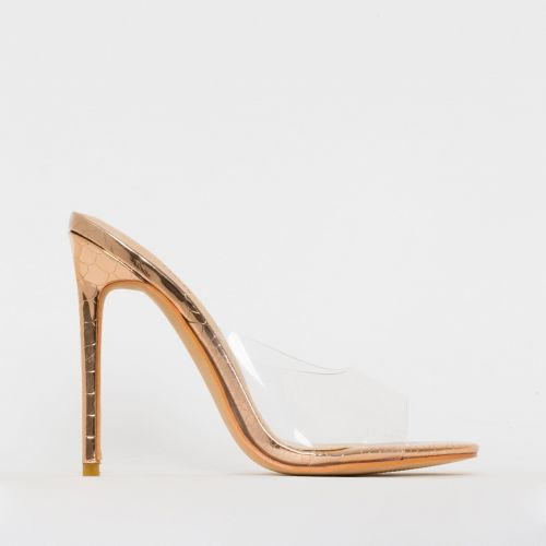 Solana Clear Rose Gold Python Print Stiletto Mules