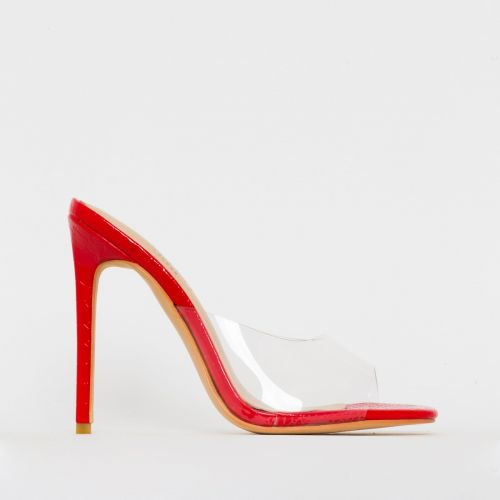 Solana Clear Red Patent Python Print Stiletto Mules