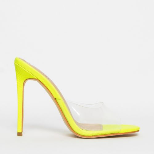 Solana Clear Yellow Snake Stiletto Mules