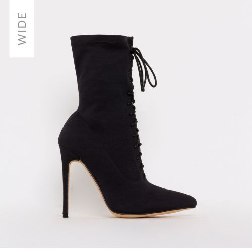 Tyla Wide Fit Black Lycra Lace Up Stiletto Ankle Boots