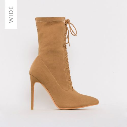 Tyla Wide Fit Nude Lycra Lace Up Stiletto Ankle Boots