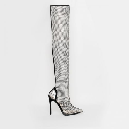 Kanya Black Clear Fishnet Thigh High Heels