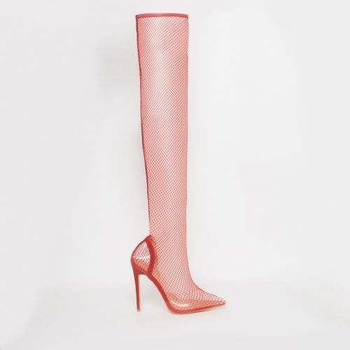 Kanya Coral Clear Fishnet Thigh High Heels