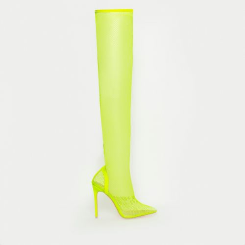 Kanya Neon Yellow Clear Fishnet Thigh High Heels