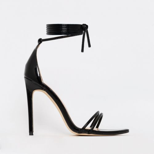Alexia Black Patent Strappy Stiletto Heels
