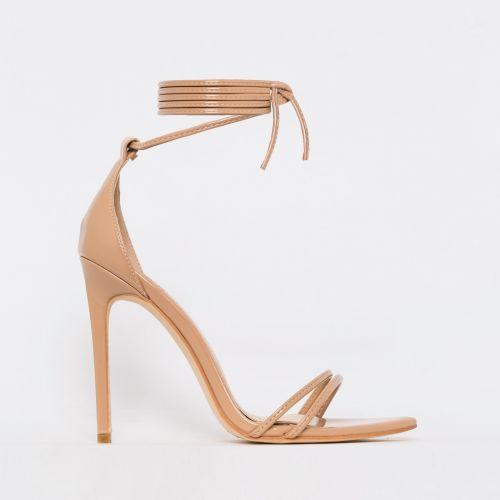 Alexia Nude Patent Strappy Stiletto Heels