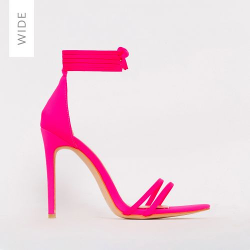 Alexia Wide Fit Hot Pink Lycra Strappy Stiletto Heels