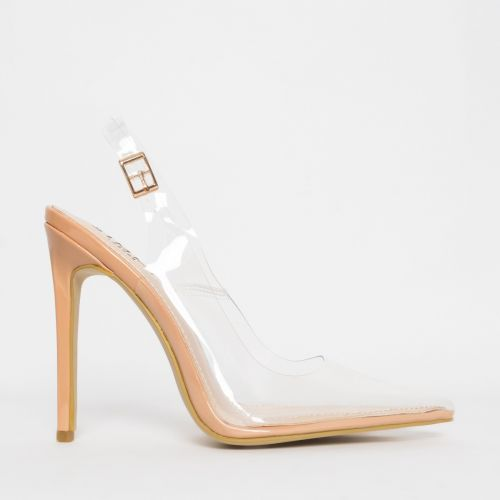 Shona Nude Clear Slingback Court Shoes