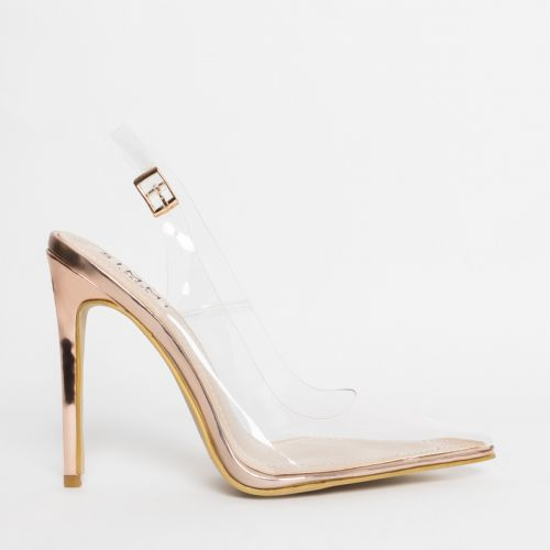 Shona Rose Gold Clear Slingback Court Shoes