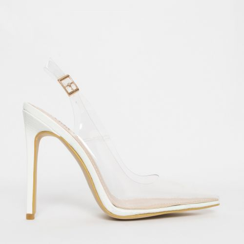 Shona White Snake Clear Slingback Court Shoes