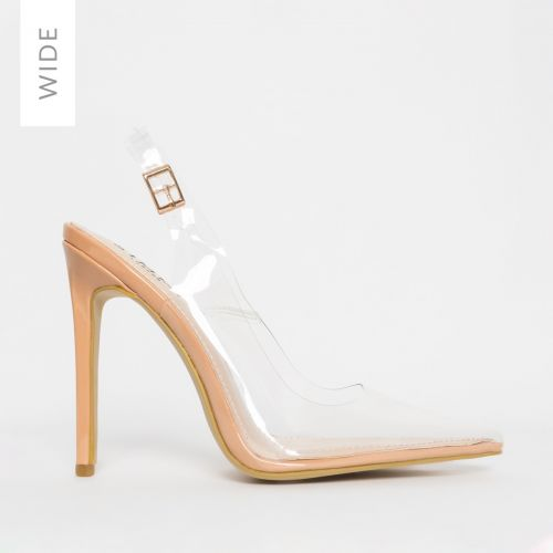 Shona Wide Fit Nude Clear Slingback Court Shoes