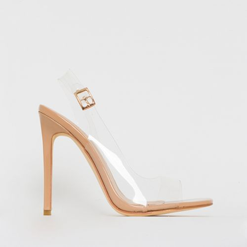 Audrina Nude Patent Clear Slingback Heels