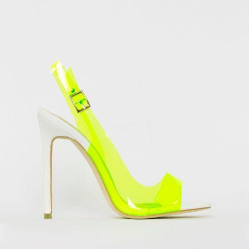 Audrina White Snake Print Yellow Slingback Heels
