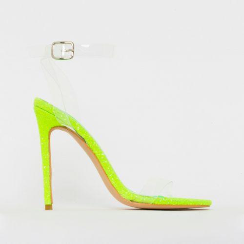 Lola Bright Green Glitter Clear Stiletto Heels