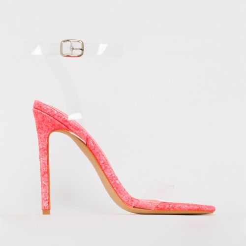 Lola Hot Pink Glitter Clear Lace Up Stiletto Heels