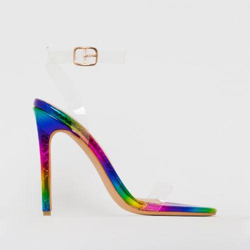 Lola Rainbow Snake Print Clear Stiletto Heels
