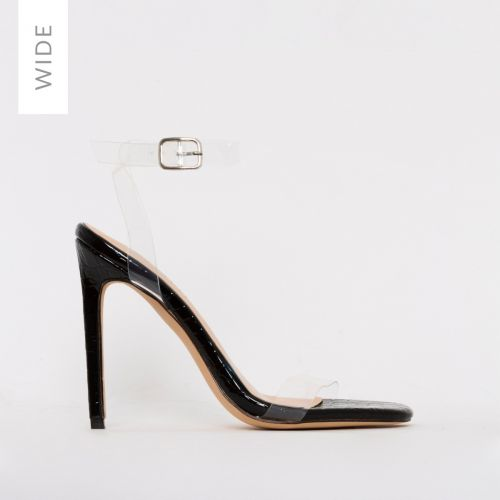 Lola Wide Fit Black Patent Croc Print Clear Stiletto Heels