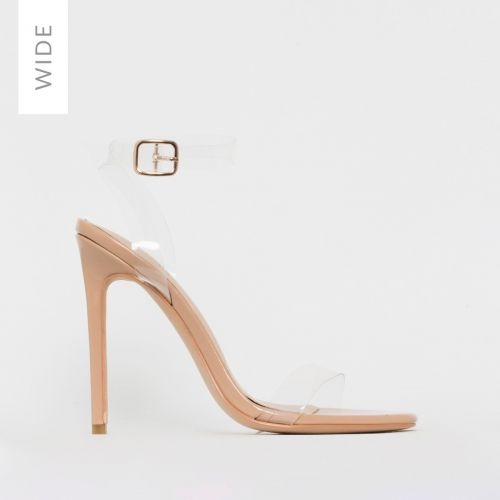 Lola Wide Fit Nude Patent Clear Stiletto Heels