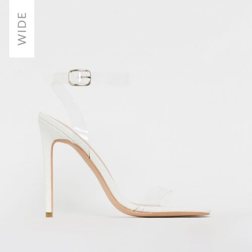 Lola Wide Fit White Snake Print Clear Stiletto Heels