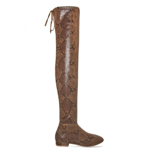Saniya Camel Snake Flat Over Knee Boots