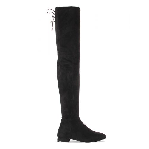 Samira Black Suede Flat Over Knee Boots