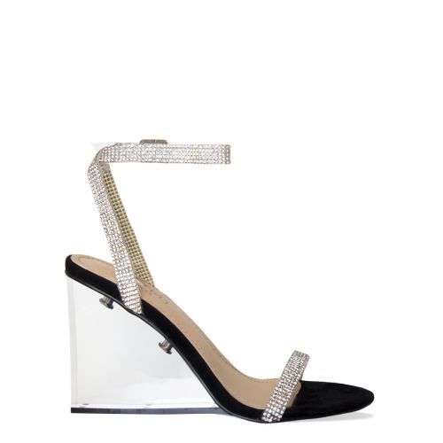Amalia Black Suede Diamante Clear Wedge Heels