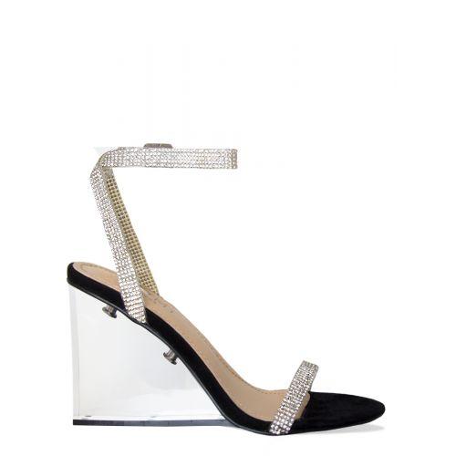 Amalia Black Suede Diamante Clear Wedge Heels
