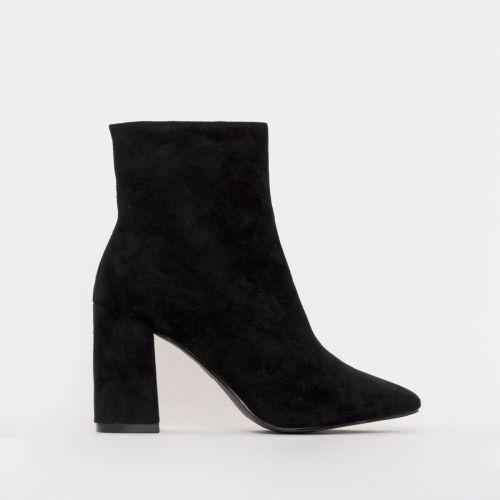 Sara Black Suede Mid Block Heel Ankle Boots