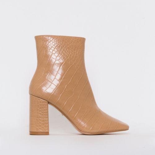 Sara Nude Croc Print Mid Block Heel Ankle Boots