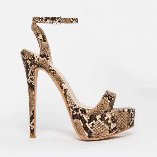 Samara Beige Snake Platform Heels