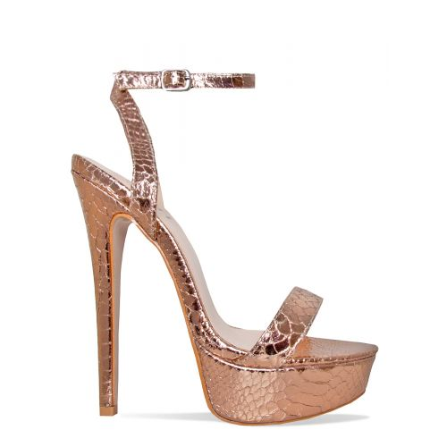 Samara Rose Gold Snake Platform Heels