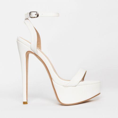 Samara White Platform Heels