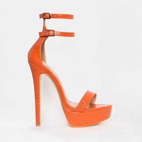 Saskia Orange Croc Platform Heels