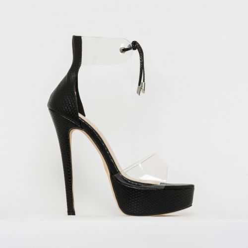 Emilia Black Snake Print Clear Lace Up Platform Heels