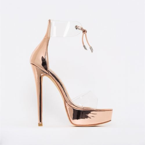 Emilia Rose Gold Clear Lace Up Platform Heels