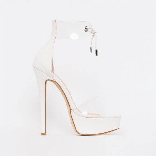 Emilia White Snake Print Clear Lace Up Platform Heels
