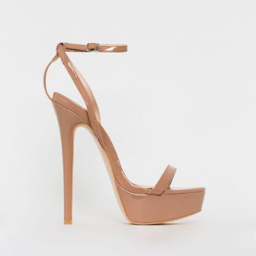 Immi Nude Patent Platform Stiletto Heels