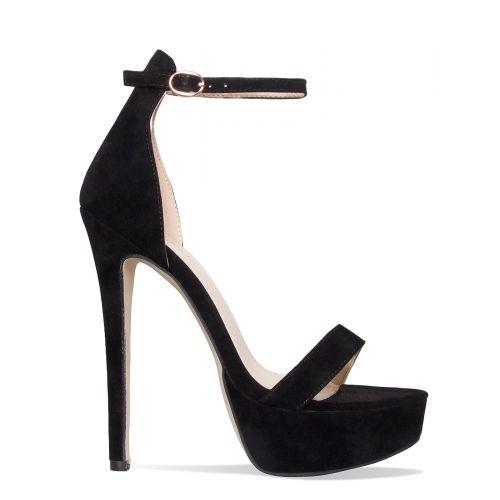 Selena Black Suede Platform Stiletto Heels