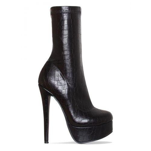 Skyla Black Croc Platform Ankle Boots