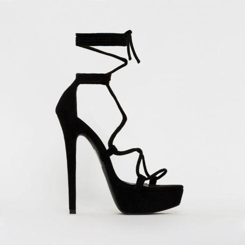 Bethany Black Suede Lace Up Platform Heels
