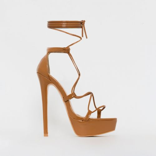 Bethany Nude Patent Lace Up Platform Heels